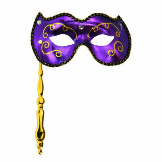 Masquerade mask clipart on stick with ribbon vector download Purple Masquerade Stick Mask vector download