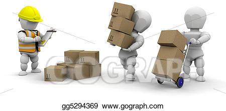 Material handling clipart jpg stock Stock Illustration - 3d men handling materials. Clipart ... jpg stock