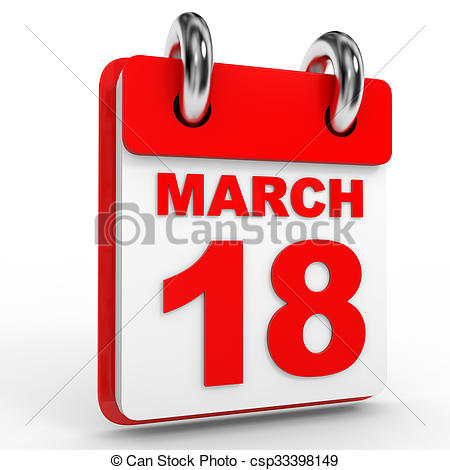May 18th calendar clipart transparent stock Stock Illustration of Calendar on white background. 18 March. 3D ... transparent stock