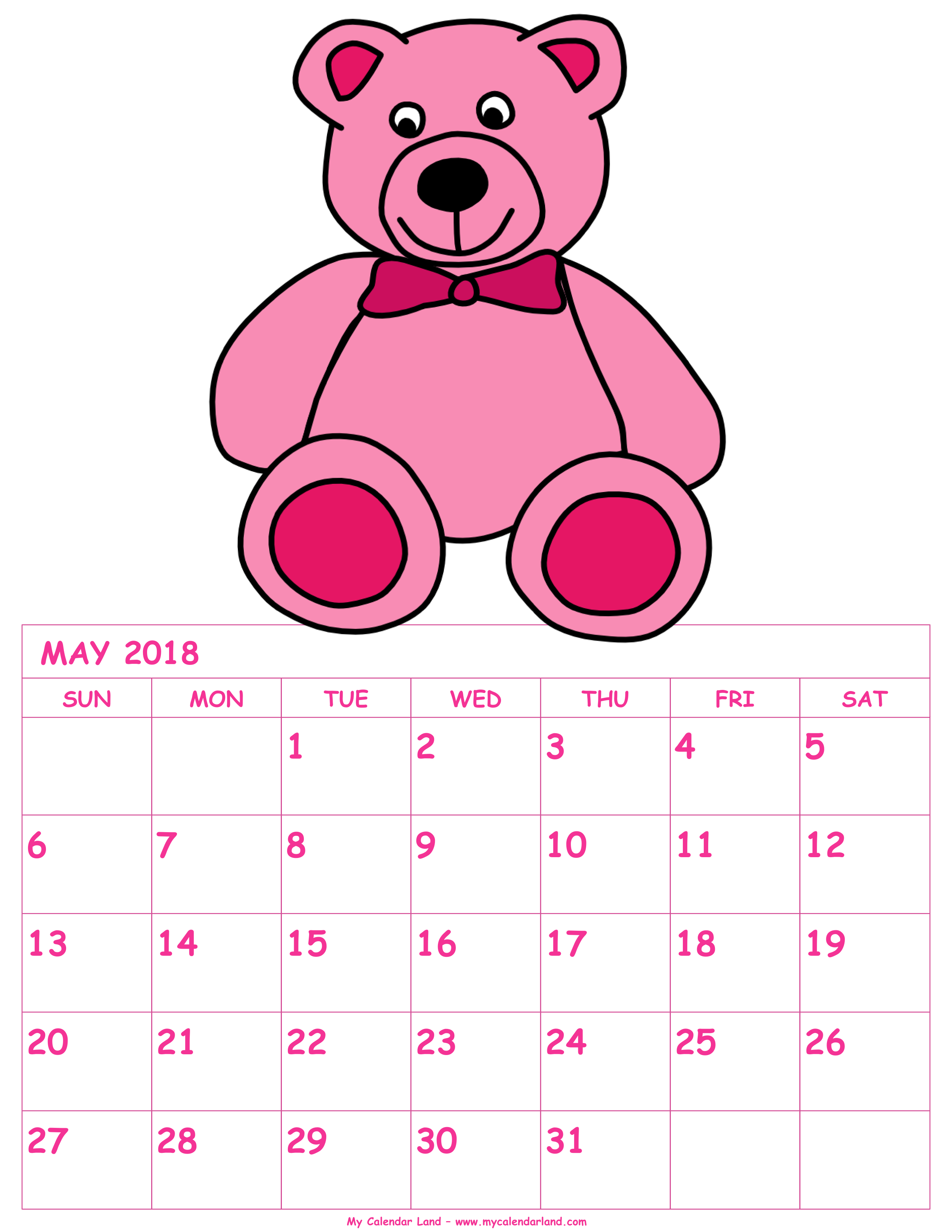 Monthly calendar clipart may clipart transparent library May 2018 Calendar - My Calendar Land clipart transparent library