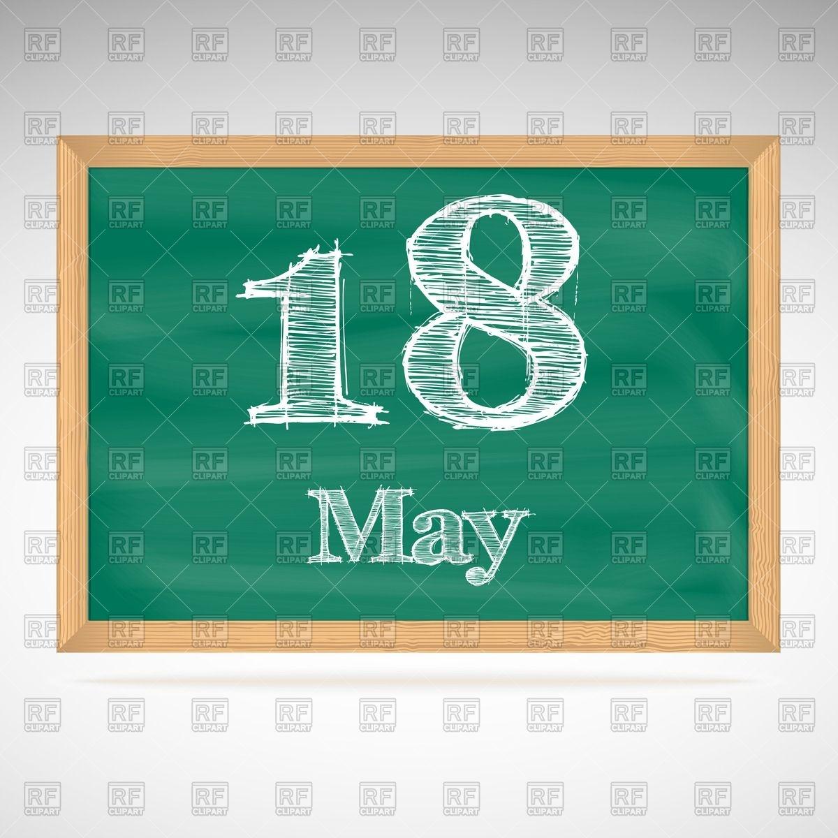 May 18th calendar clipart clip free download School blackboard calendar with inscription in chalk May 18 Vector ... clip free download