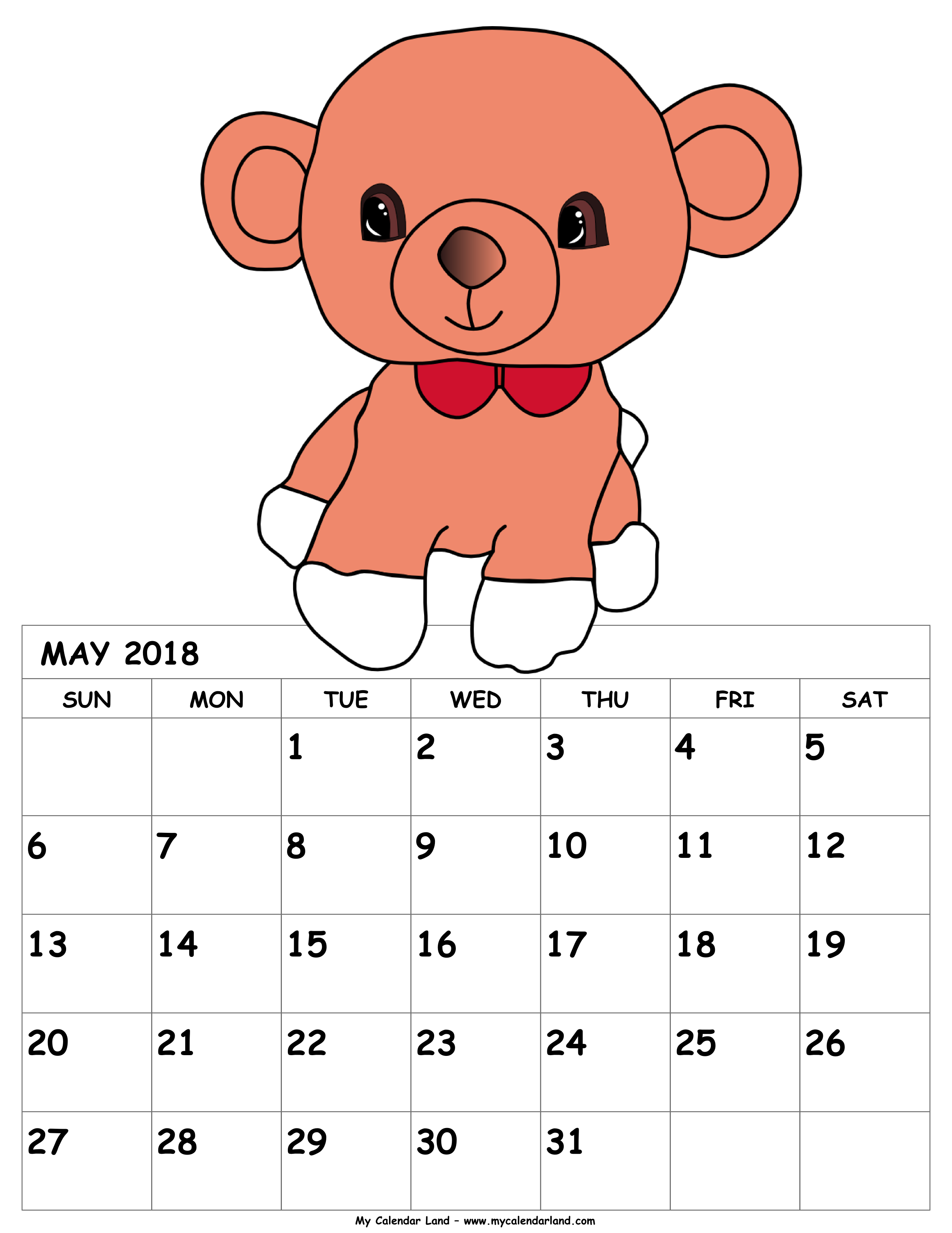 Monthly calendar clipart may clip art royalty free download May 2018 Calendar - My Calendar Land clip art royalty free download