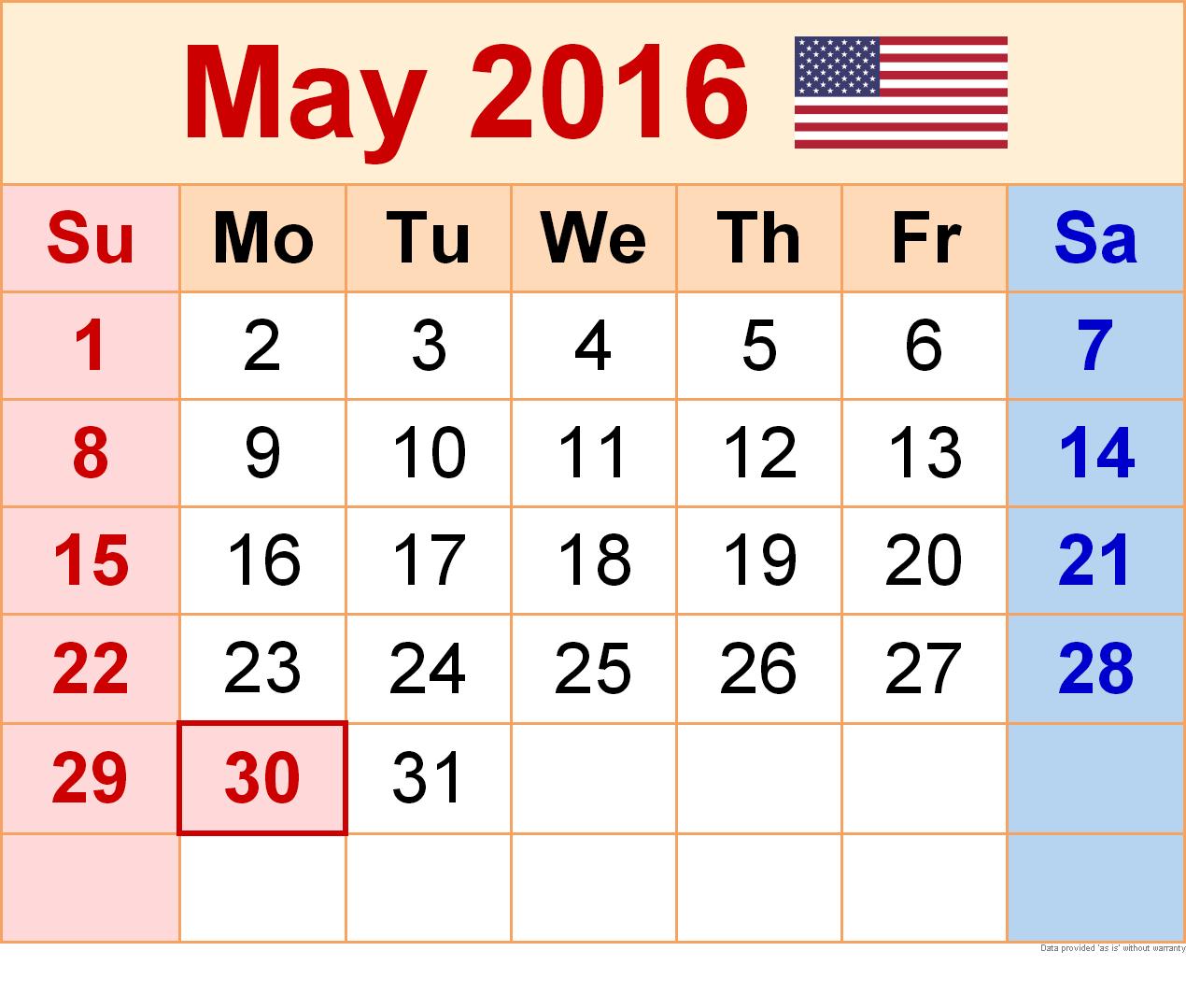 May 2016 calendar clipart svg royalty free May 2016 Blank Printable Calendar svg royalty free
