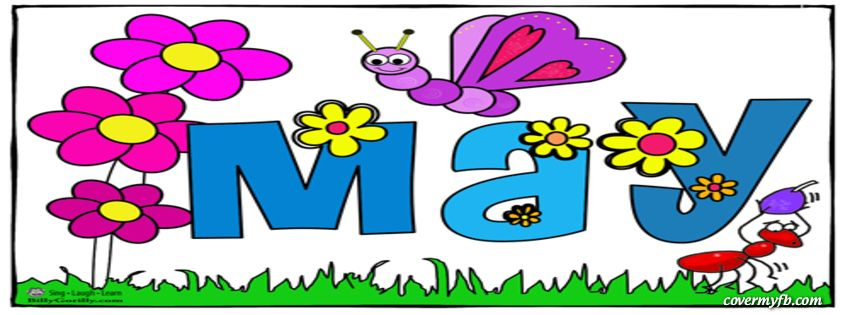 May banner clipart jpg black and white Month Of May For Spring Facebook Covers, Month Of May For ... jpg black and white