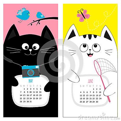 May calendar clipart summer clip free stock Cat Calendar 2017. Cute Funny Cartoon Character Set. May June ... clip free stock