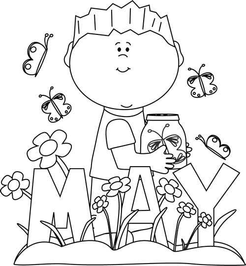 May flowers clip art black and white jpg library May Clip Art - May Images - Month of May Clip Art jpg library