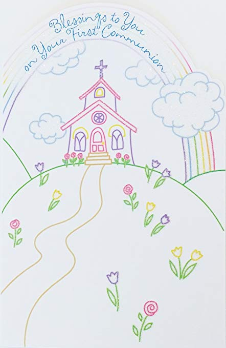 May god richly bless you clipart black and white image black and white Blessings to You on Your First Communion Greeting Card - \
