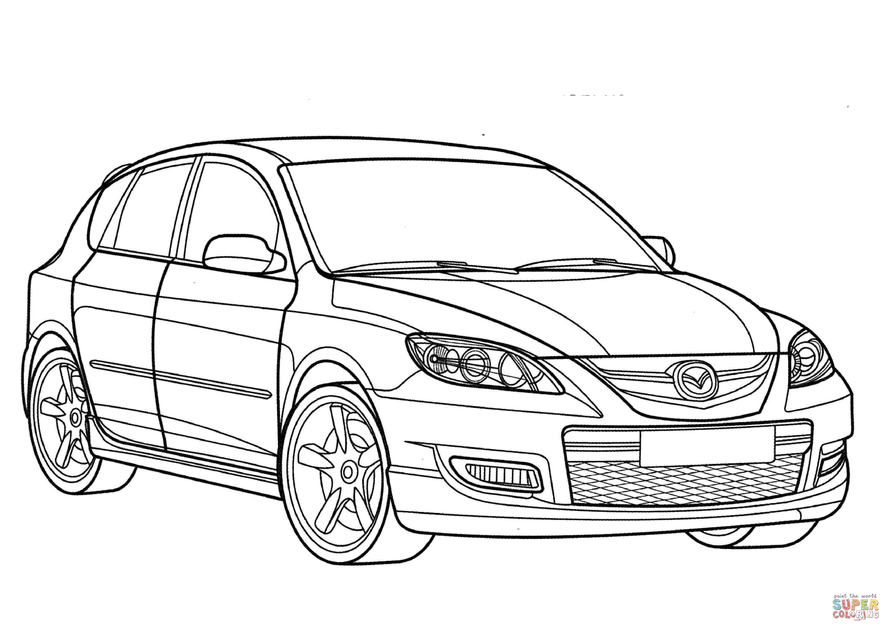 Mazda 3 clipart png black and white stock Mazda 3 MPS coloring page | Free Printable Coloring Pages png black and white stock