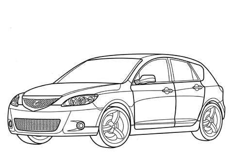 Mazda 3 clipart clipart library Mazda 3 hatchback coloring page | Free Printable Coloring Pages clipart library