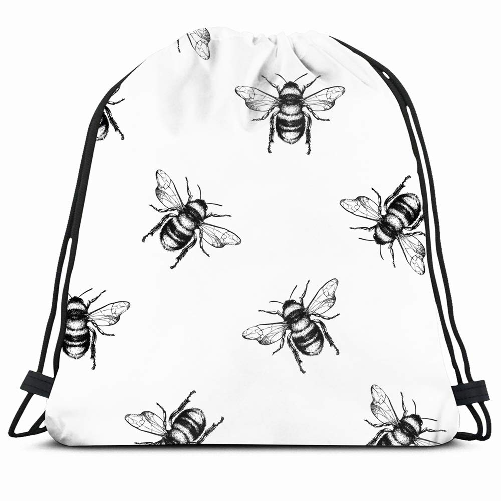 Mead clipart honey bee black and white clipart royalty free library Amazon.com | Ahawoso Drawstring Backpack String Bag 14X16 Pattern ... clipart royalty free library