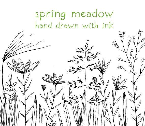 Meadow flower clipart clip Digital Clipart, Doodle Clipart, Meadow, Flowers, Hand Drawn ... clip