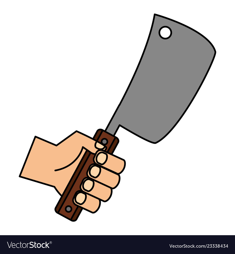 Meat cleaver clipart free library Hand holding meat cleaver free library