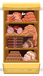 Meatmarket clipart graphic stock Shelfs with meat products. Meat market - vector clipart / vector image graphic stock