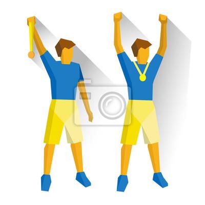 Medaillen clipart clip free download Fototapete: Zwei meister mit medaillen. athleten isoliert auf weißem  hintergrund clip free download