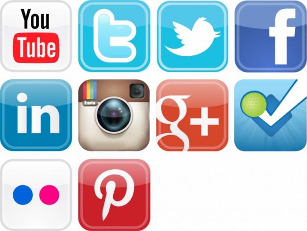 Media logo clipart graphic royalty free stock Glossy social media icons vector set Vector | Free Download graphic royalty free stock