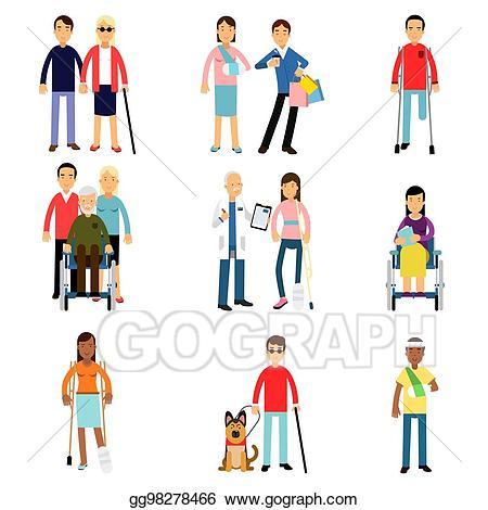 Medical assistance clipart svg black and white library Vector Art - Disabled men and women characters getting medical ... svg black and white library