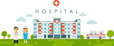 Medical building clipart banner royalty free Medical Concept With Hospital Building And Doctor In Flat Style ... banner royalty free