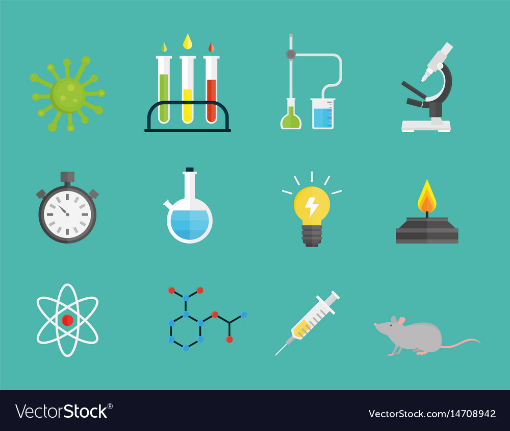 Medical laboratory science clipart vector black and white Lab symbols test medical laboratory scientific vector image on VectorStock vector black and white