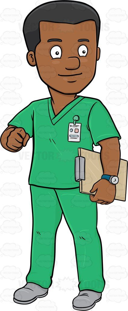 Medical scrubs clipart clipart A Dark Haired Male Nurse In Scrubs Holding A Clipboard #adult ... clipart