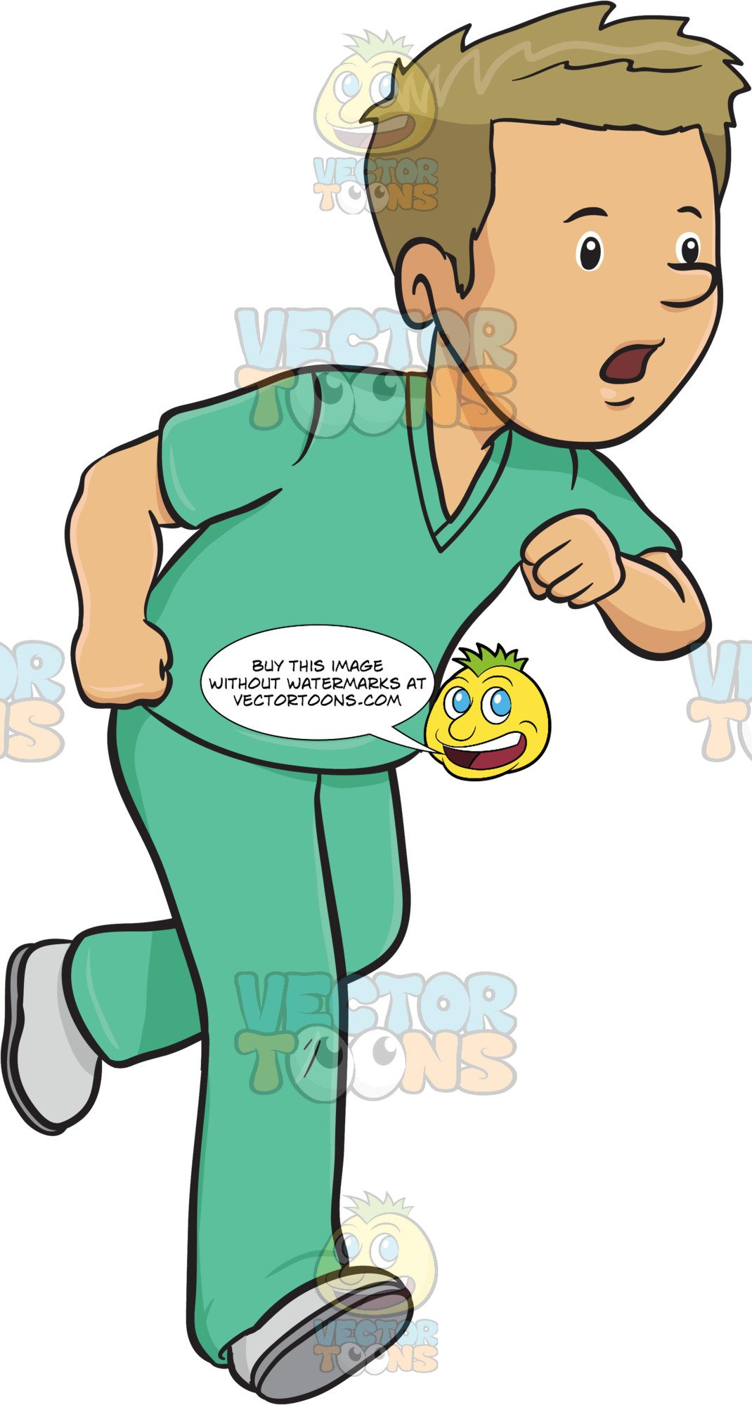 Medical scrubs clipart png black and white download Man In Medical Scrubs Rushes In A Hurry png black and white download