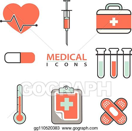 Medical supplies clipart picture transparent download Vector Clipart - Flat medical icons concept set of medical supplies ... picture transparent download
