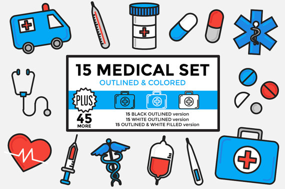 Medicleclipart picture royalty free Medical Clipart / Healthcare Clipart / Hospital Clipart Set Outlined ... picture royalty free