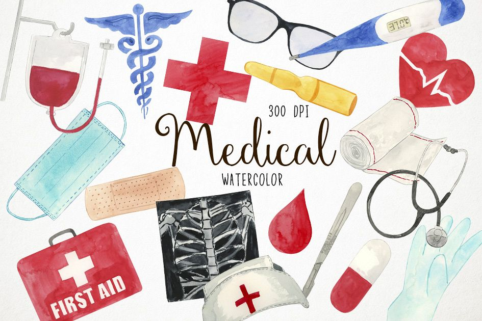 Medicleclipart svg download Watercolor Medical Clipart, Doctor Clipart, Health Clipart svg download