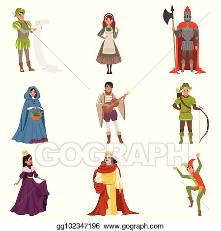 Medieval illustrations clipart image royalty free library EPS Vector - Medieval people characters of european middle ages ... image royalty free library