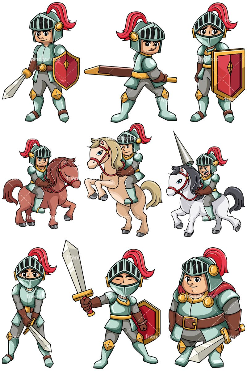 Medival clipart vector free Medieval Knights Collection | Clip Arts in 2019 | Cartoon knight ... vector free