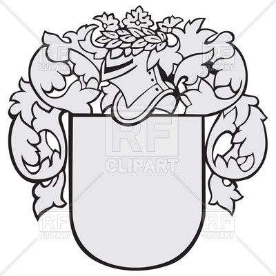 Medieval knights coat of arms black and white free clipart picture freeuse download Medieval coat of arms with knights helmet and shield Vector Image ... picture freeuse download