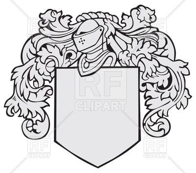 Medieval knights coat of arms black and white free clipart clipart transparent stock Template of medieval heraldic emblem - shield with decorations and ... clipart transparent stock