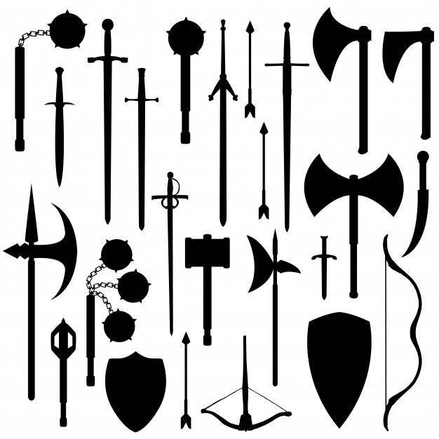 Medieval weapons clipart vector freeuse download Medieval weapons silhouette clip art vector Vector | Premium Download vector freeuse download