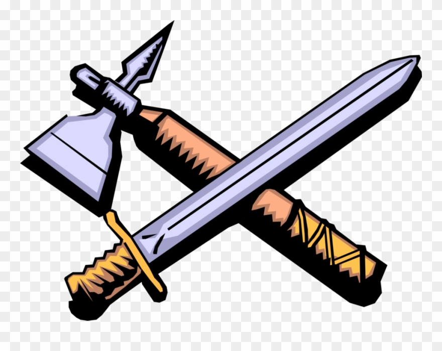 Medieval weapons clipart image free download Vector Illustration Of Middle Ages Medieval Sword And - Cartoon ... image free download