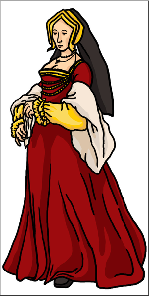Medieval woman clipart svg free download Clip Art: Medieval History: 16th Century Noblewoman Color I ... svg free download