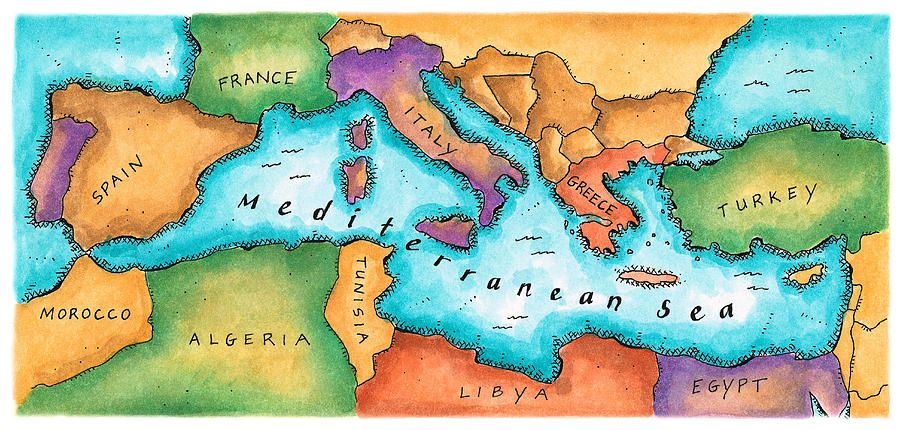Mediterranean sea clipart clipart freeuse stock Map Of Mediterranean Sea | Social Studies - Geography ... clipart freeuse stock