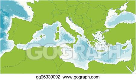 Mediterranean sea clipart jpg transparent download EPS Vector - Mediterranean sea map. Stock Clipart ... jpg transparent download