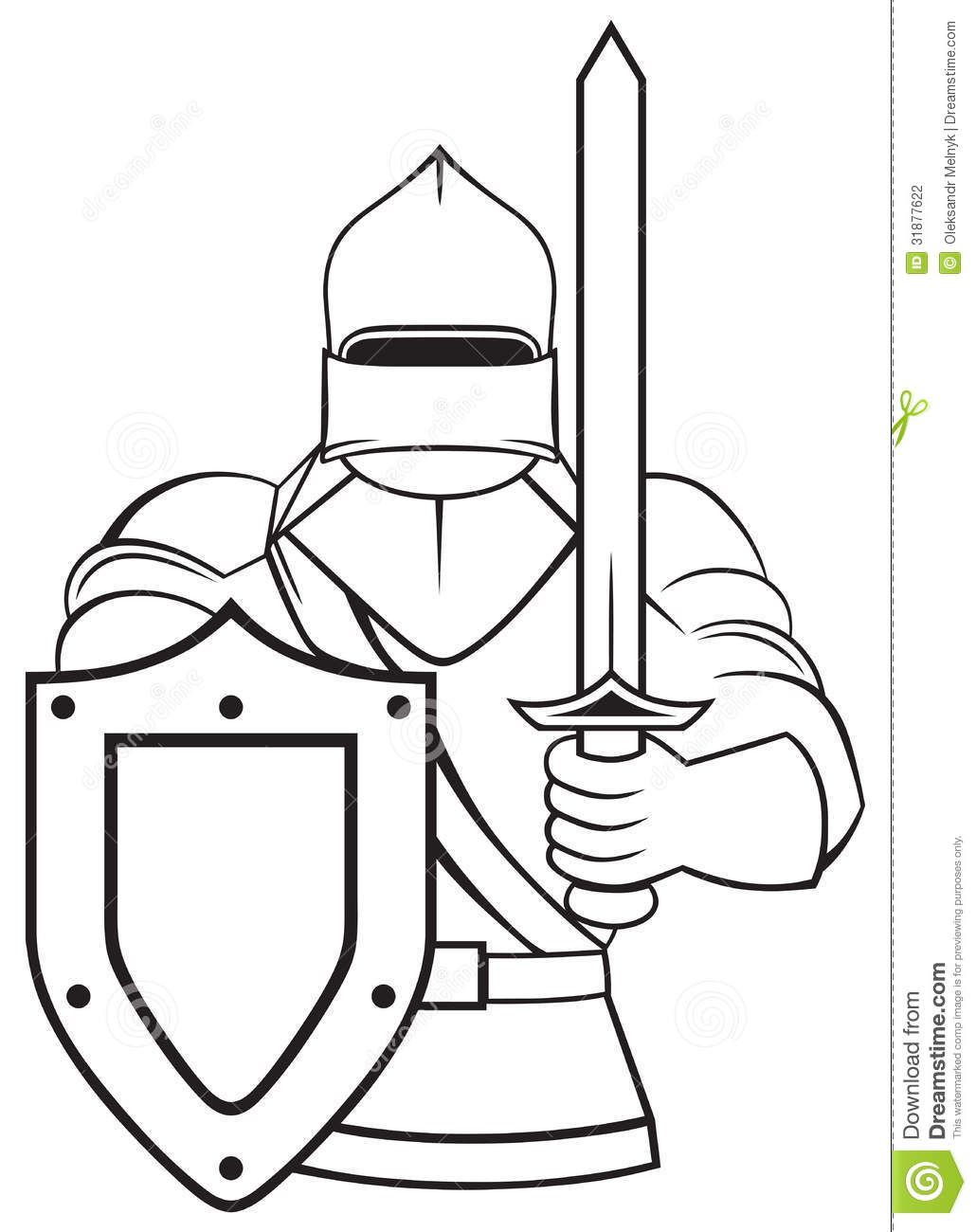 Medival children playing clipart black and white jpg royalty free Cool Black and White line art | Medieval Knight Stock ... jpg royalty free