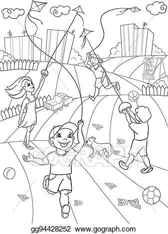 Medival children playing clipart black and white freeuse stock Vector Art - Children coloring vector game kite flying ... freeuse stock