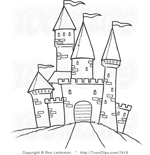 Medival children playing clipart black and white png freeuse Draw castle | ... White Line Drawing of a Path Leading to a ... png freeuse