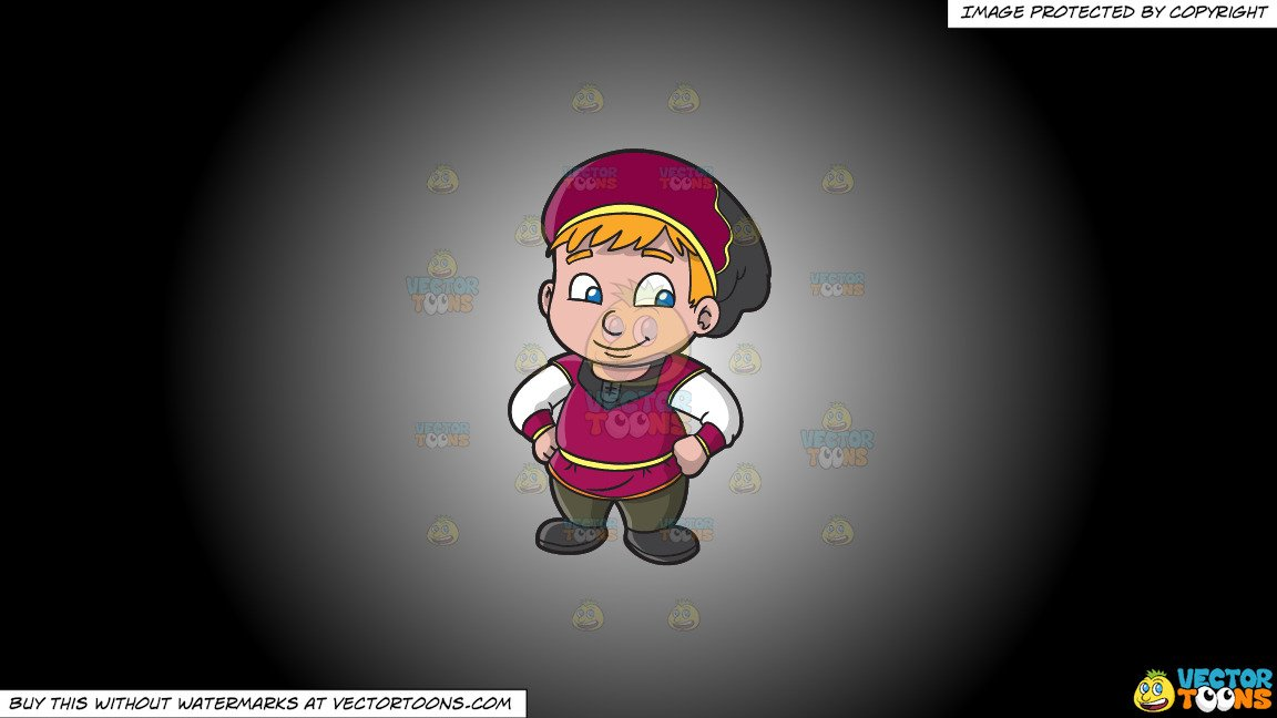 Medival children playing clipart black and white banner freeuse download Clipart: A Chubby Medieval Boy on a White And Black Gradient Background banner freeuse download