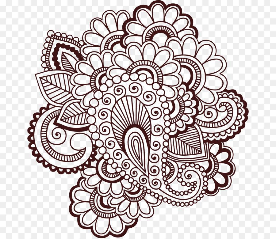 Mehndi clipart clip art black and white library Black And White Flower clipart - Flower, Circle, transparent ... clip art black and white library