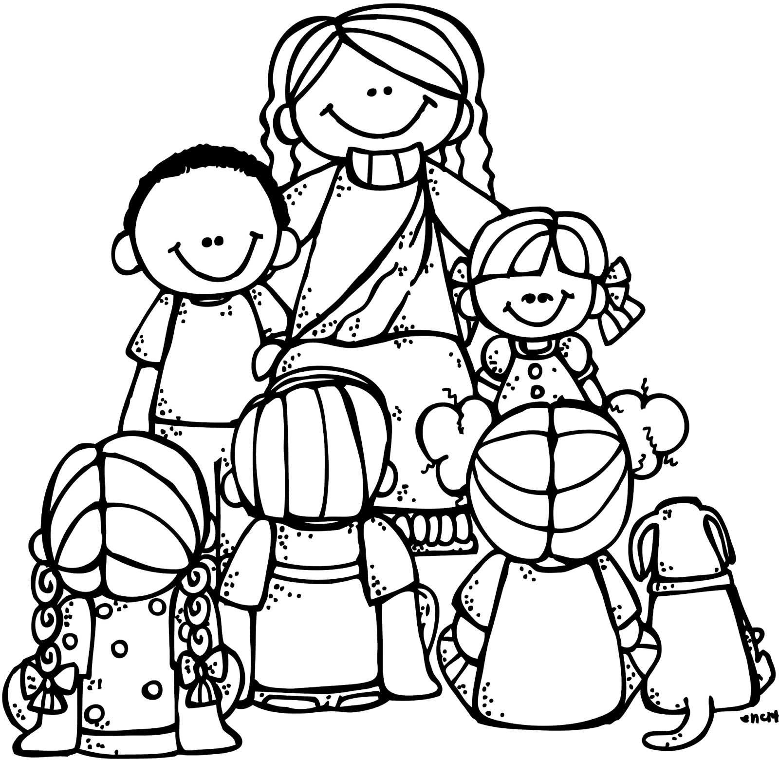 Black and white clipart of kids with jesus at the cross image royalty free download Melonheadz jesus preaching clipart - ClipartFox image royalty free download