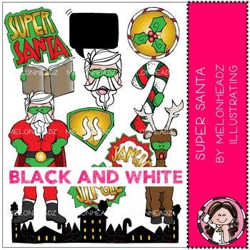 Melonheadz santa clipart black and white jpg free download Super Santa clip art - BLACK AND WHITE - Melonheadz Clipart jpg free download