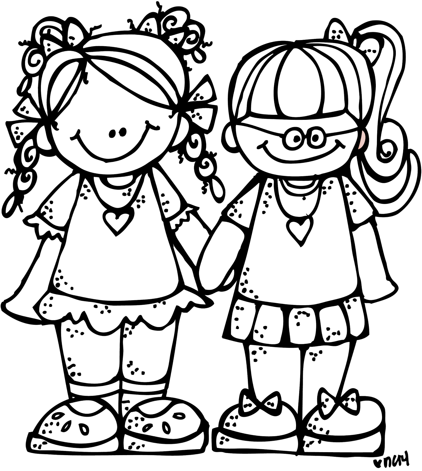 Melonheadz school clipart black and white vector free Melonheadz Illustrating Freebie Forever Friends Graphic :) | Melon ... vector free