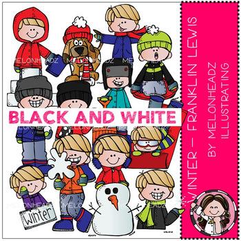 Melonheadz winter black and white clipart graphic black and white library Winter clip art - Franklin Lewis - BLACK AND WHITE - by Melonheadz graphic black and white library