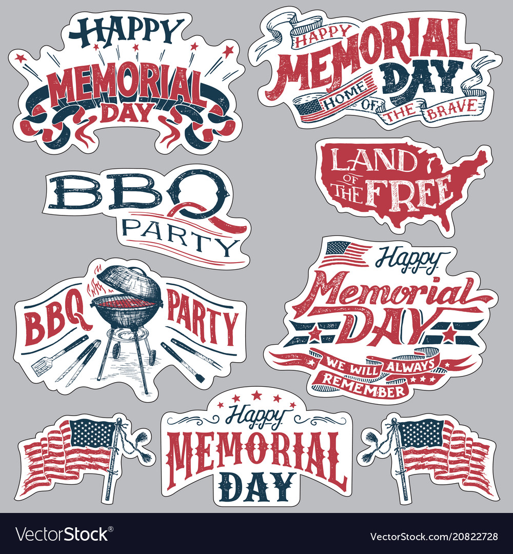 Memorial day party clipart jpg royalty free Happy memorial day barbecue party labels set jpg royalty free