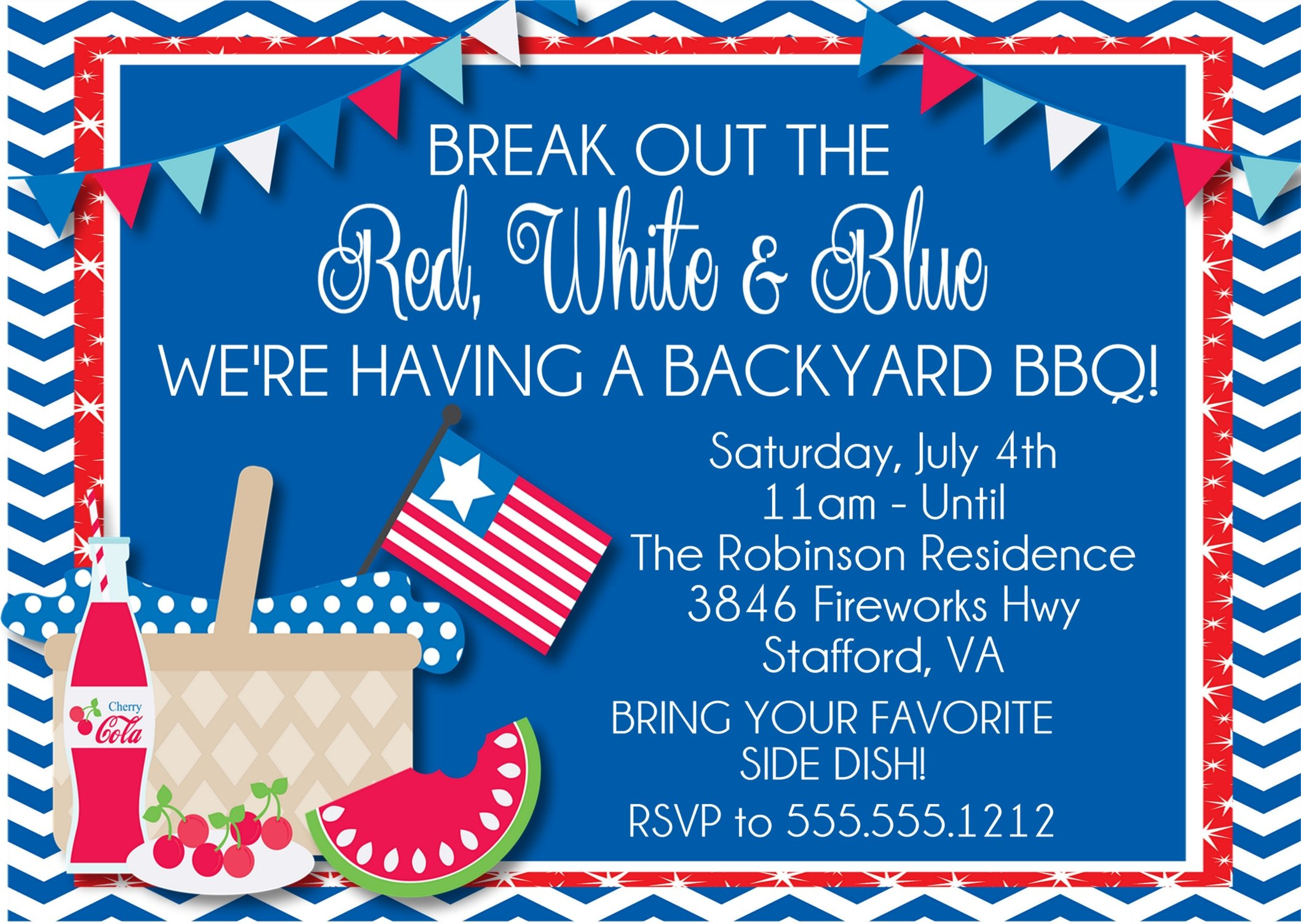 Memorial day party clipart jpg library July 4th or Memorial Day BBQ Invitations jpg library