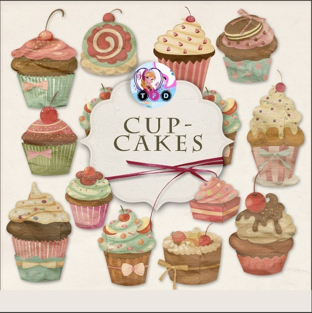 Mercado pago clipart graphic download Kit Imprimible Clipart Cupcakes Vintage Shabby Imagenes Png graphic download
