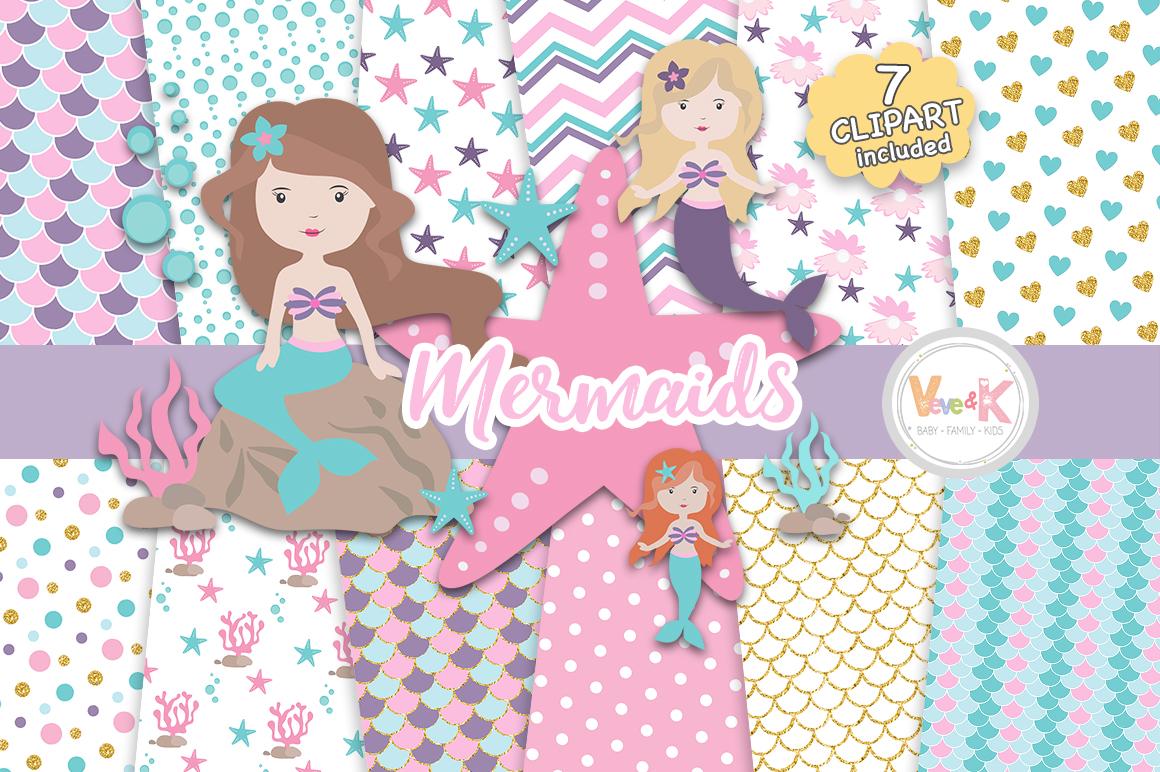 Mermaid baby clipart banner free stock Mermaids Clipart and Papers Pack, Mermaids Clipart, Under the Sea Graphics,  Ocean Graphics, Mermaid Baby Shower, Mermaid Background Papers banner free stock