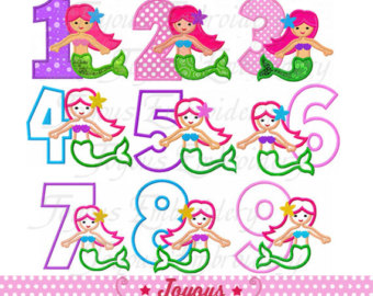 Mermaid number 1 clipart clip art freeuse download Mermaid number – Etsy clip art freeuse download